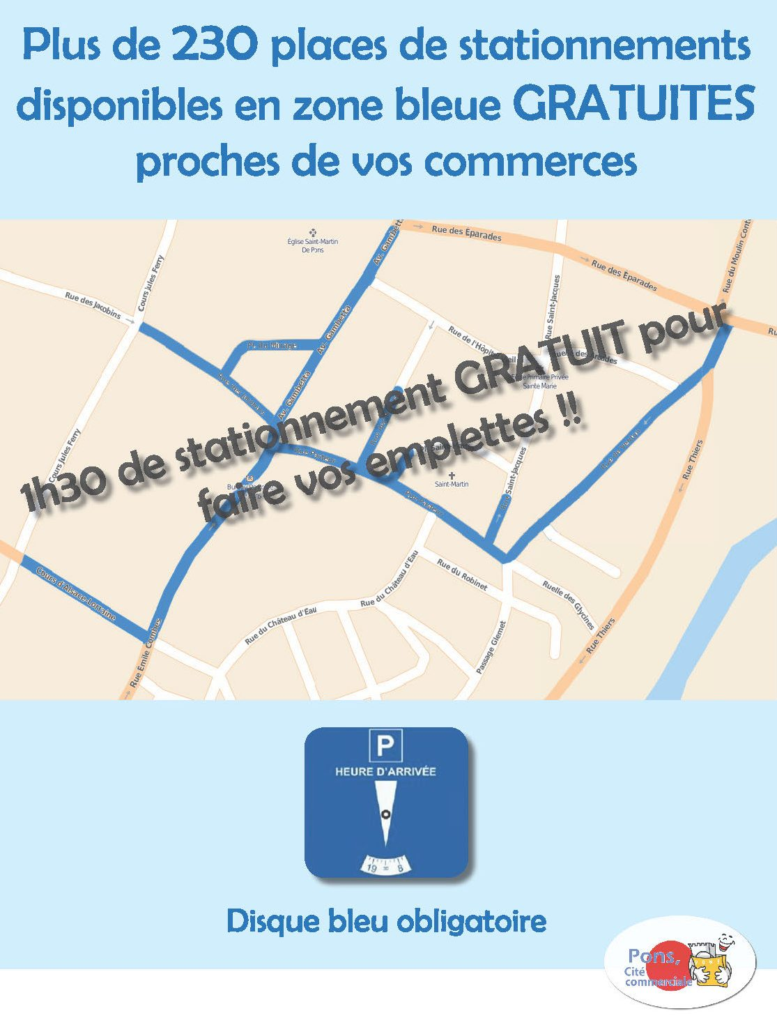 stationnement gratuit à Pons zone bleue