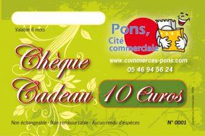 GICC Pons - Commerces Pons - Chèque cadeau