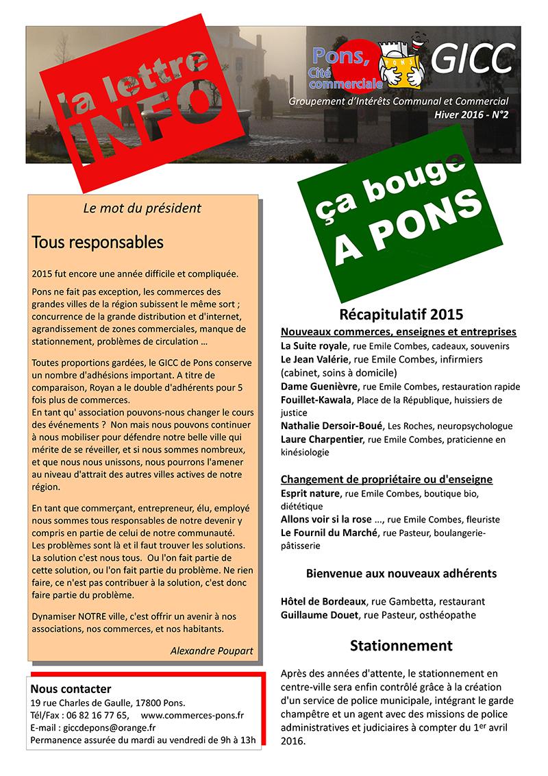 GICC Pons - Lettre d'Info (Hiver 2016) - Page 1
