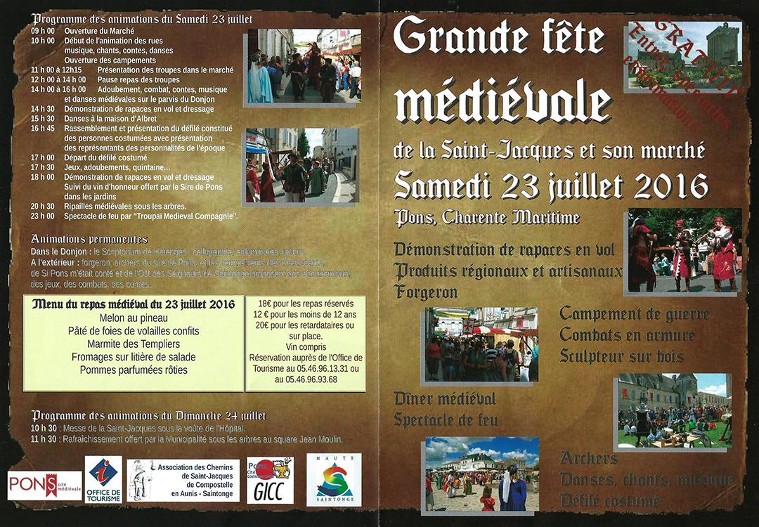 Fête Médiévale à Pons - Samedi 23 Juillet 2016