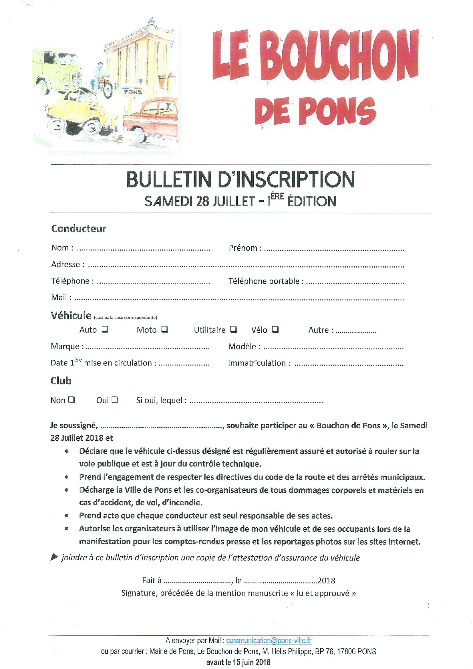 Le Bouchon de Pons - Juillet 2018 - bulletin inscription