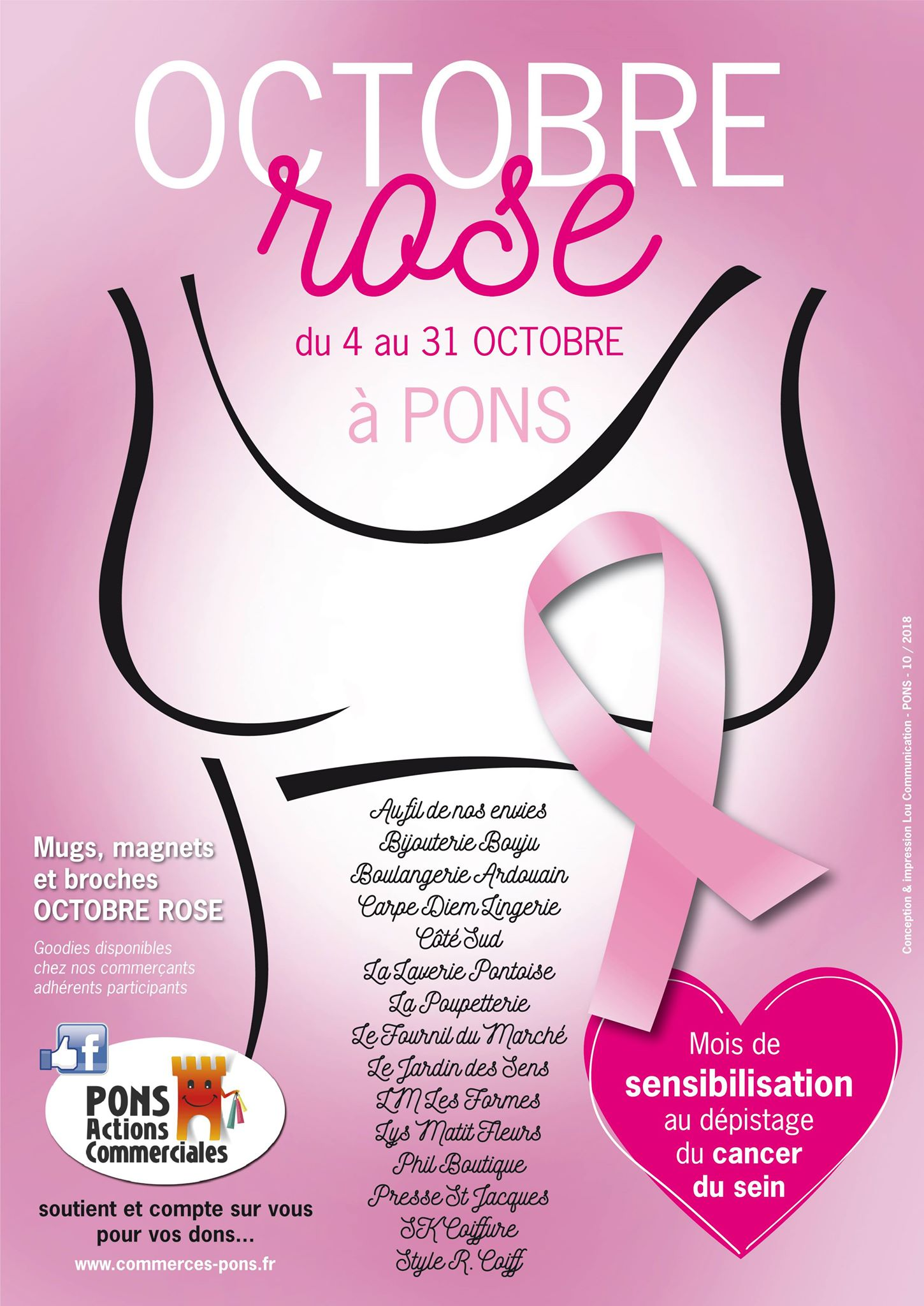 Octobre Rose 2018 - Pons Actions commerciales