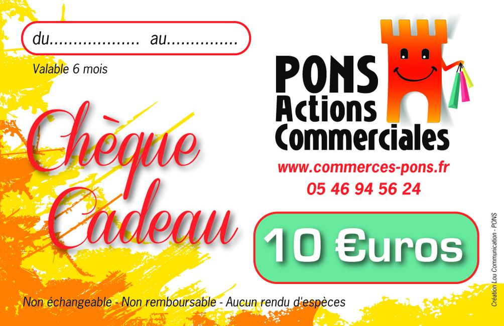 Chèque cadeau Pons Actions commerciales