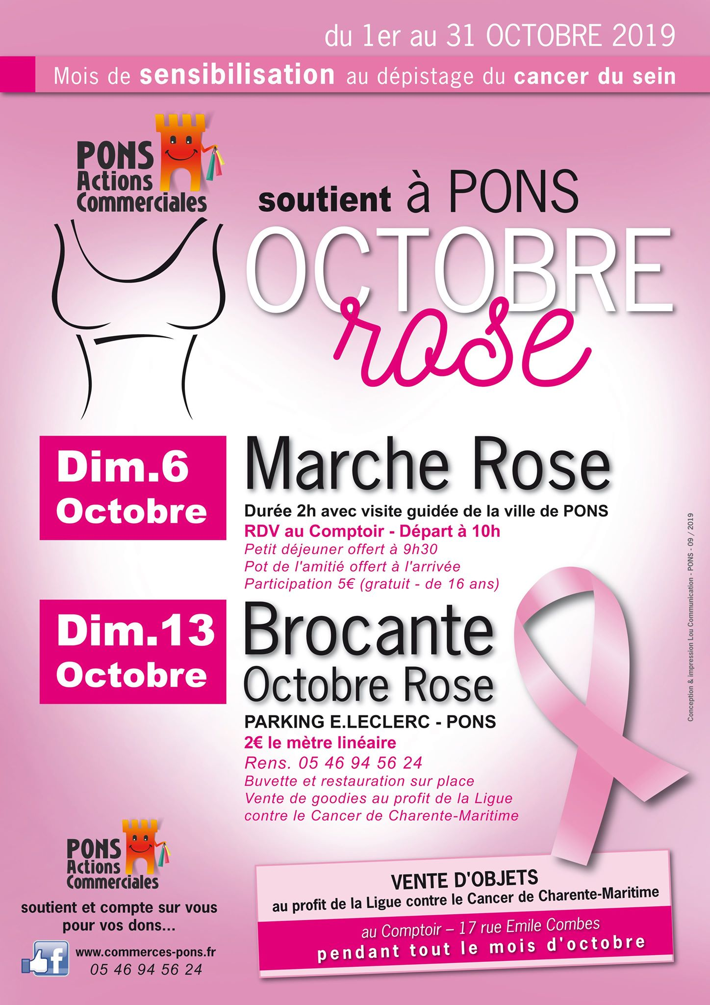 Octobre rose - Pons Actions Commerciales - Marche rose - Brocante