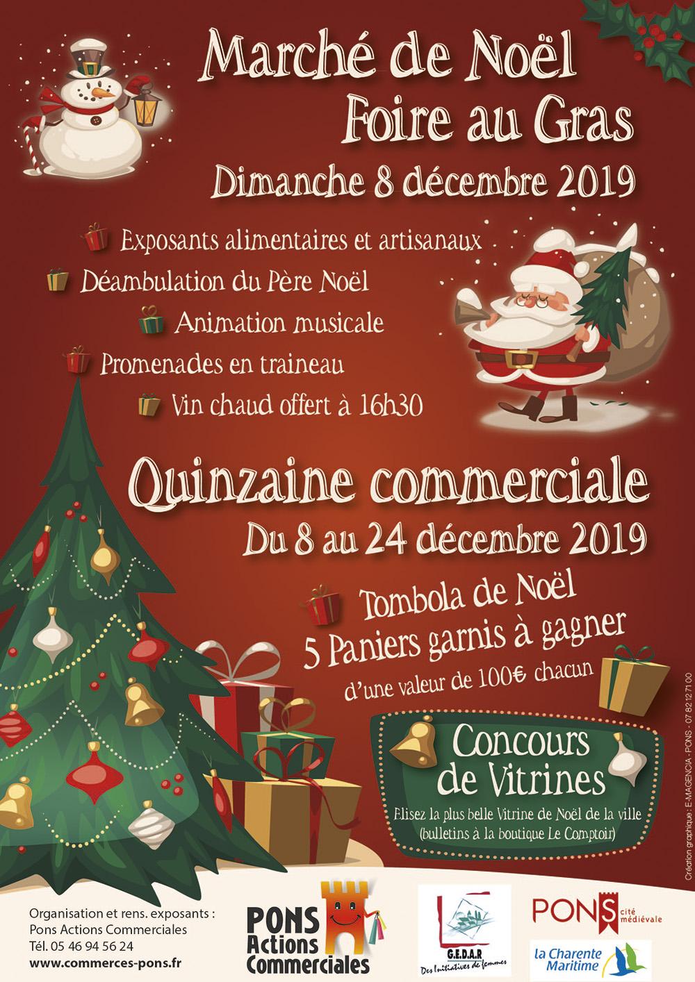 Marché de Noël 2019 - Pons Actions Commerciales - Dimanche 8 décembre 2019