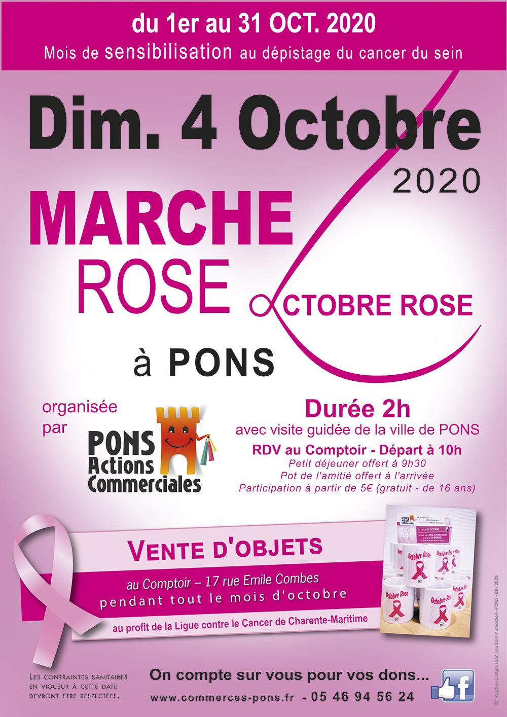Pons Actions Commerciales - Marche Octobre rose - Dimanche 4 octobre 2020